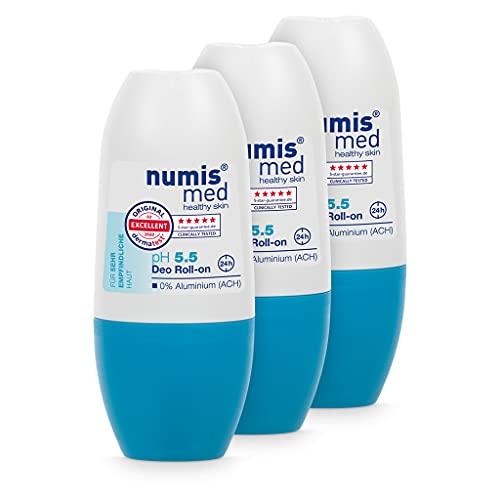 numis med Deo Roll On ph 5.5-3er Pack Hautberuhigendes Deodorant für sehr empfindliche & sensible Haut - vegane Hautpflege ohne Silikone, Parabene & Mineralöl (3x 50 ml)