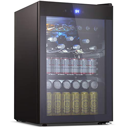 Beverage Refrigerator and Cooler - Drink Fridge with Glass Door for Soda, Beer or Wine - Small Beverage Center with 5 Removable Shelves for Office/Man Cave/Basements/Home Bar (4.5 Cu. Ft.)
