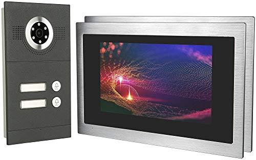 GVS IP Video Door Intercom, Flush-Mounted Door Station IP65, 2 x 10 Inch Monitor, Mobile Phone App, HD Camera 115°, Door Opener Fact, 32GB Photo/Video Memory, PoE Switch, 2 Family House Set, AVS3097U