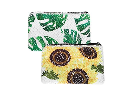 Cute Flip Sequin Pencil Pouch Small Makeup Organizer Bag Purse (Sunflower/Leaf)