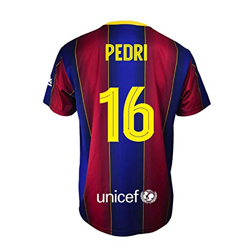 Champion's City Kit - 16 Pedri - Camiseta y Pantalón Infantil Primera Equipación - FC Barcelona - Réplica Autorizada - Temporada 2020/2021