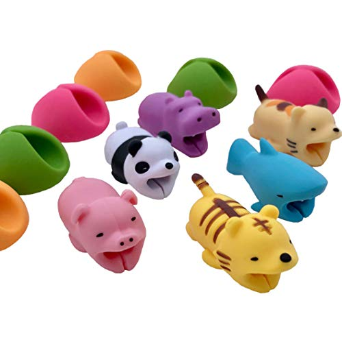 Animal Bites Cable Protector and Cable Clips (12 Pack), Cable Accessories: Cable Buddies / Chompers and Cable Clips for iPhone iPad USB. Includes Panda+Shark+Tiger+Pig+Hippo+Cat + 6 Cable Clips
