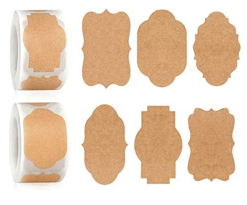 YYWEi 700 etiquetas autoadhesivas de papel de estraza para el hogar, mermelada, regalos, manualidades (6 diseños)