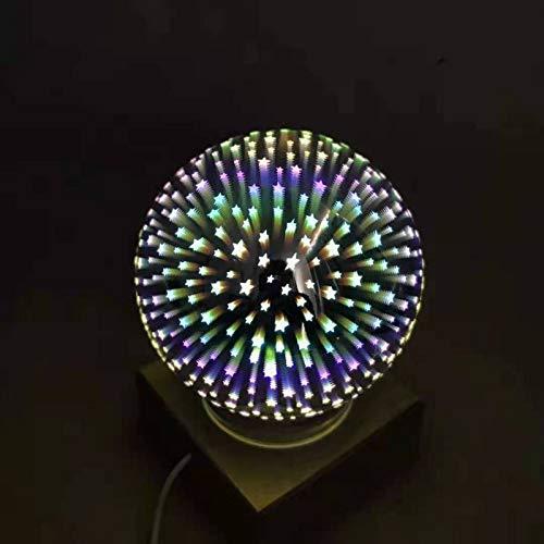 CHSYWH Luz de Noche de Bola de Vidrio Transparente 3D, luz mágica de Fuegos Artificiales de Colores, luz de Ambiente navideña con Base de Madera Maciza, lámpara de Mesa LED