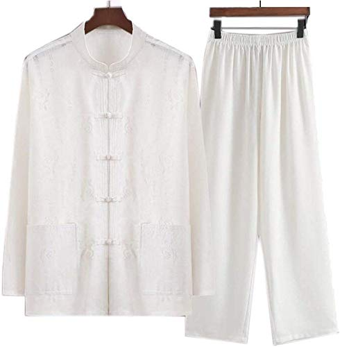 JINFAN Abito Tai Chi Qi Gong Wing Chun Suit Uomo Kung Fu Cinese Abbigliamento in Cotone E Lino Abbigliamento per Arti Marziali Naturale,White-175CM