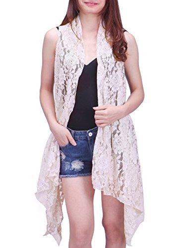 HDE Womens Lace Asymmetrical Cardigan Sleeveless Open Front Hippie Crochet Vest (Cream, XL-2X)