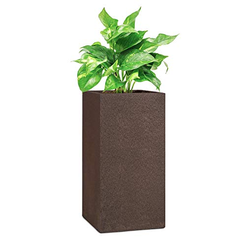 blumfeldt Solid Grow Rust - Pflanzgefäß Pflanzkübel Pflanzkasten, Material: Fibreclay, UV- & Frostschutz, witterungsbeständig, für drinnen und draußen, rostfarben, 40 x 80 x 40 cm (BxHxT)