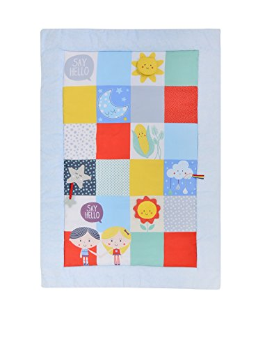 East Coast Nursery Baby Sensory Say Hello Activity Mat, Patchwork,7939