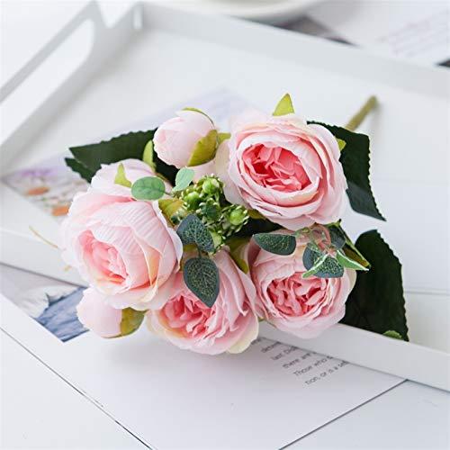 XWZH Künstliche Blume 9 köpfe künstliche Blumen weiße pfeifen Tee Rose Herbst Seide gefälschte Blumen vase für DIY Hause Garten Hochzeit Dekoration gefälschte Pflanzen (Color : Pink)