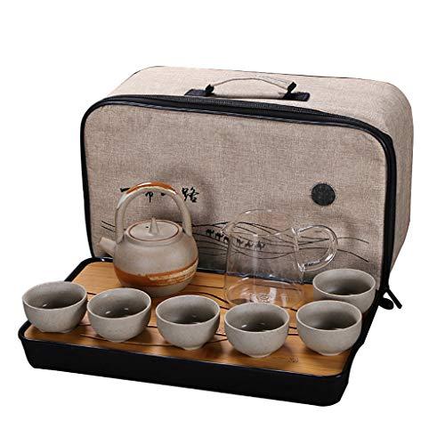 TEASE Juego de té, Juego de té de gres. Japonés Creativo Bandeja de Burbujas Seca Simple Oficina en casa Taza de Tetera portátil