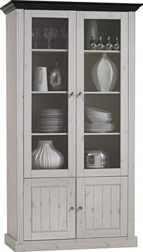 Steens Monaco Glasvitrine, mit 2 Glastüren und 2 kleinen Holztüren, 103 x 190 x 46 cm (B/H/T), Kiefer massiv, weiß kolonial