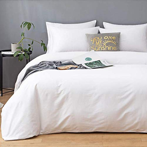 COSYJOY Duvet Cover Queen White 3 Piece Comforter Cover – Ultra Soft Microfiber Hotel Collection Soft and Breathable with Zipper Closure & Corner Ties,1 Quilt Cover and 2 Pillow Shams