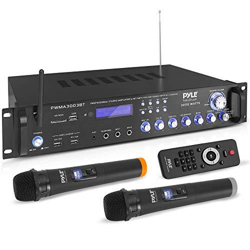 Pyle 3000W Bluetooth Hybrid Speaker-High-Powered Pre-Amplifier w  2 VHF Wireless Handheld Microphones, MP3 Aux USB SD Readers FM Radio Rack Mount Design w LED Backlight PWMA3003BT