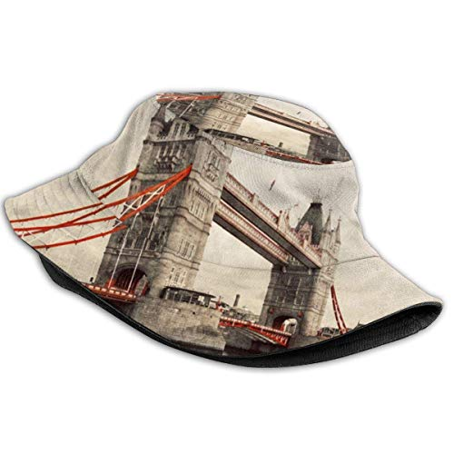 Bucket Sun Hat, Tower Bridge en Londres Sun Hat, Protector Solar Estilo Infantil Gorra de Pescador importada para Halloween