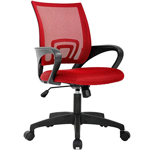 Home Office Chair Ergonomic Desk Chair Mesh Computer Chair with Lumbar Support Armrest Executive Rolling Swivel Adjustable Mid Back Task Chair for Women Adults (Red)