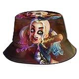 Sombrero de Pescador de Dibujos Animados Har-Ley-Qu-Inn, protección UV de Verano, Sombreros de Cubo de Viaje, Gorra de Sol Plegable para Playa para Hombres y Mujeres-EJ