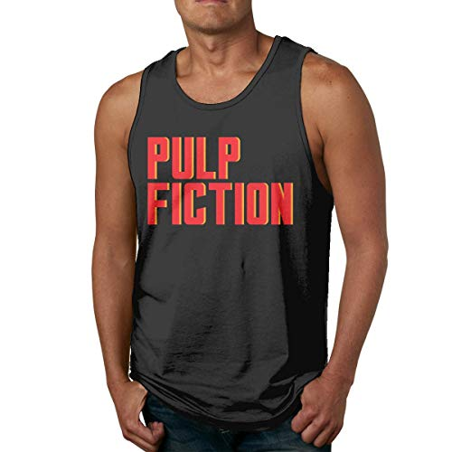 Pulp Ficiton Mans Camisa sin Mangas de algodón para Hombre, desgastada por Fuera o por Dentro