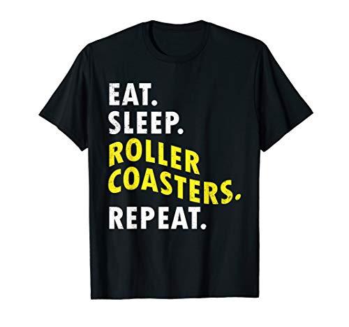 Eat Sleep Roller Coasters Repeat Amusement Theme Park Shirt