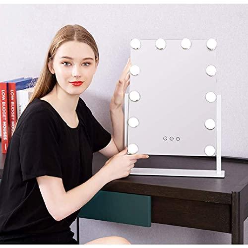 Linjolly Espejo de Maquillaje con 12 Luces LED,Espejo de tocador de vanidad,Pantalla táctil Regulable,Gire en Cualquier ángulo de Espejo cosmético,energía USB