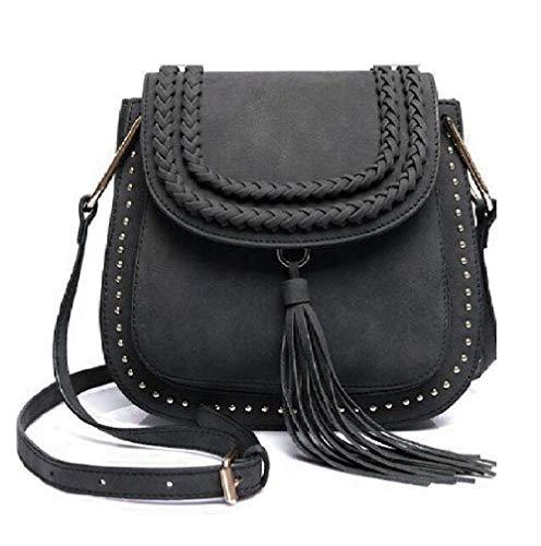 Classic Women Shoulder Bag Luxury Brands Knitting Suede Leather Big Saddle Bag Vintage Female Cover Crossbody Handbags (black)