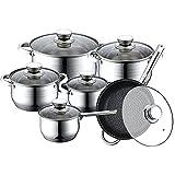 Utensilios de cocina de acero inoxidable de 12 piezas Adecuados para la cocina de inducción, estufa de cerámica de gas, sartén antiadherente, olla de acero inoxidable y pan