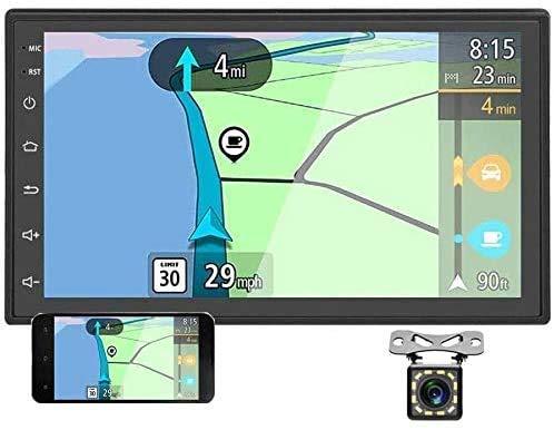 Radio de coche Android estéreo doble DIN de 7 pulgadas 2.5D pantalla táctil GPS navegación 2 DIN estéreo de coche con Bluetooth FM, enlace espejo para Android/iOS + doble entrada USB / 12 LED cámara de respaldo
