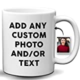 Custom Coffee Mug, Custom Photo Name Text White Mug Cup, Personalized Picture Coffee 11 Oz Mug, Add Text & Multiple Images To Mug, Custom Gift for Christmas, Father And Mothers Day(11 Ounce White Mug)