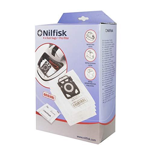 Nilfisk 107407940 Ultra Vlies-Filtersack-Set für King-, Extreme- und Elite-Staubsauger-Serie, enthält Filter und Beutel-Set (4 Stück)