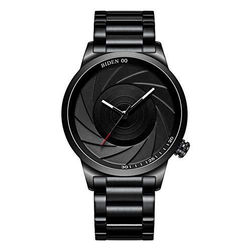 Zwbfu Moda para Hombre Reloj Deportivo de Cuarzo Simple Dial Grande Banda de Acero Inoxidable Reloj de Pulsera