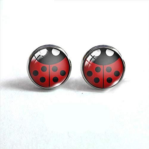 wangk Ladybug Insecto Acero Inoxidable Plateado Pendientes joyería Linda Ladybug Stud Pendientes de joyería Hecha a Mano Regalos 3