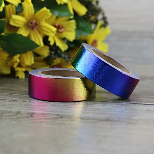 Washi Tape 1X Cinta adhesiva de papel de arco iris Papel japonés...