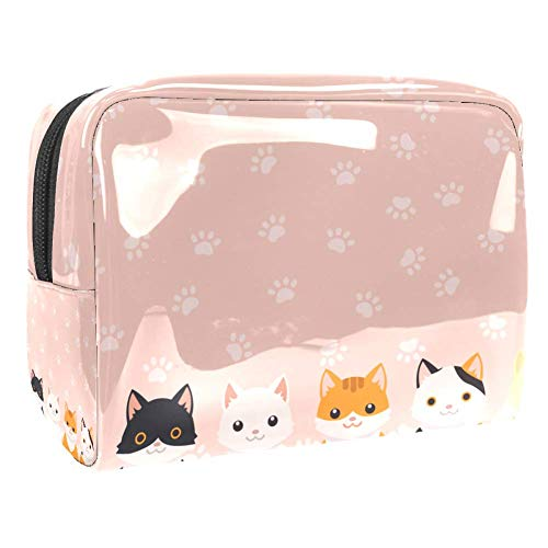 Maquillage Cosmetic Case Multifunction Travel Toiletry Storage Bag Organizer for Women - Cute Cat Paw Print Pink