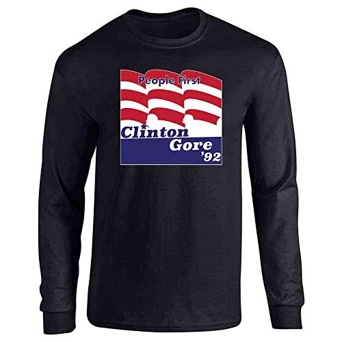 Bill Clinton Al Gore 1992 Presidential Campaign Black M Full Long Sleeve Tee T-Shirt
