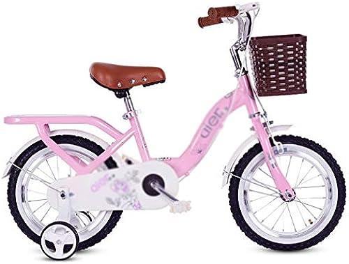 Kinderfürr r Schülerfürrad Jungenmädchenfürrad fürrad mit Einer Geschwindigkeit Ausflugfürrad, handgeflochtener Korb (Farbe   Rosa, Größe   12inches)