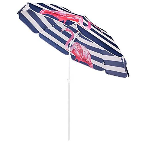 SPRINGOS Sonnenschirm Strandschirm Kippfunktion Flamingos max. Höhe 175 cm Spannweite 160 cm Gartenschirm (160 cm, Weiß-Marineblau)