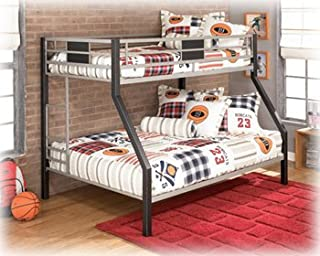 Ashley Furniture Youth Metal Twin/Full Bunk Bed Black/Silver Finish