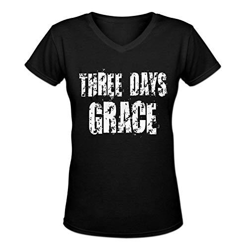 Three Days Grace Design Women's Casual Cotton V-Neck Tee Shirt