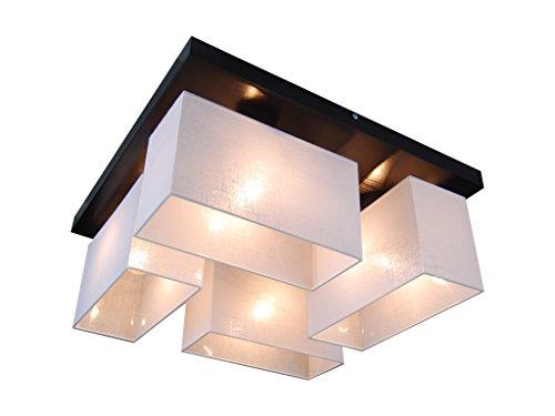 Deckenlampe - HausLeuchten JLS45WED WENGE - 11 Varianten, Sockel 45 x 45 cm, Massivholz, Deckenleuchte, Leuchte, Lampe, 4-flammig (WEIß)