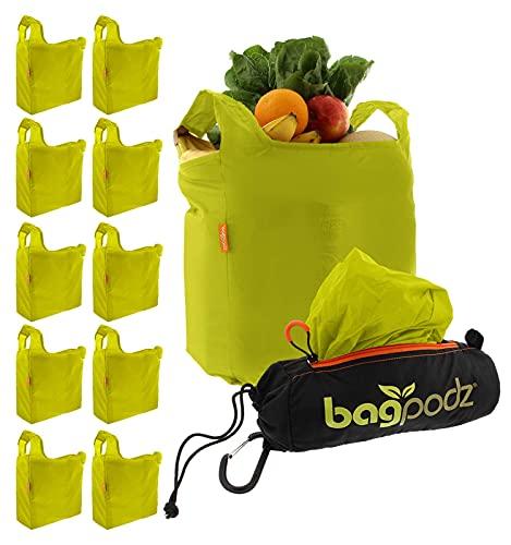 BagPodz Reusable Grocery Bags, 10 Pack in Green