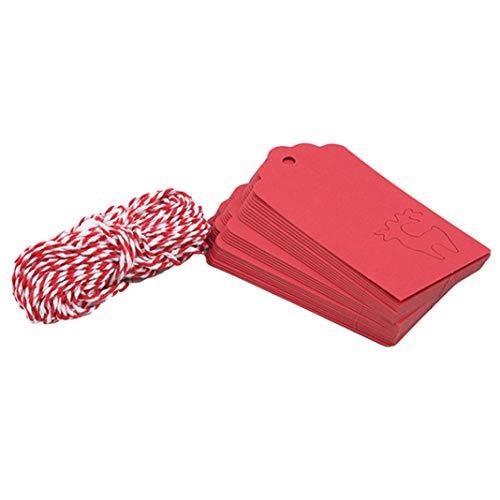 GLJYG Etiquetas rectangulares de regalo de papel kraft para colgar etiquetas de decoración para Navidad boda con cuerda, (ciervo)