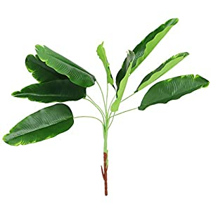 Amosfun Banana Leaves Monstera Plant Tree Leaf Bird of Paradise Plants Live Artificial Fake Trees- Simulation Banana Leaf Home Leaf Arrangement- 9 Branches Leaf Decor (Green)