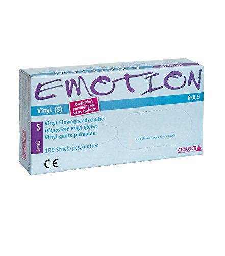 Efalock Professional Emotion Vinyl-Handschuhe Größe S puderfrei, 1er Pack, (1x 100 Stück)