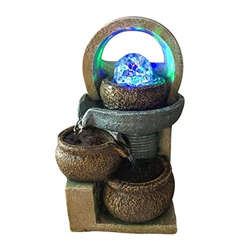 噴水、LEDライト付き屋内卓上噴水、オフィスと家庭用の岩のある滝機能(色:A)