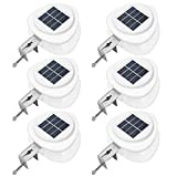 Flexzion Solar Gutter LED Lights 4 Pack - Waterproof Sun Powered Night Security Front Door Lamp/F Indoor Outdoor Deck Patio House Yard Fence Garden Garage Shed Wall Stairs Safety Landscaping Lighting