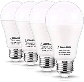 4-Pack Lohas 17W (150W Equivalent) A19 LED Light Bulbs (Soft White)