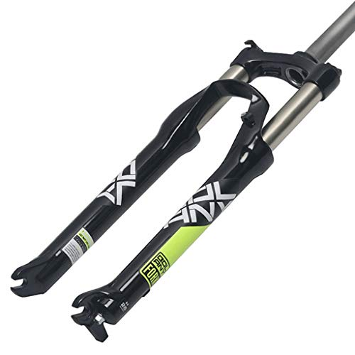 QHY Bicycle forks Bike Suspension Fork 26 Inch 1/1-8' MTB Bicycle Oil Fork Disc Brake 100mm Travel 9mm QR 100mm Axle (Color : A, Size : 26')