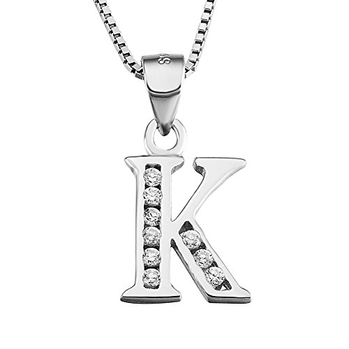 YFN Initial K Pendant Necklace in Sterling Silver with Cubic Zirconial 26...