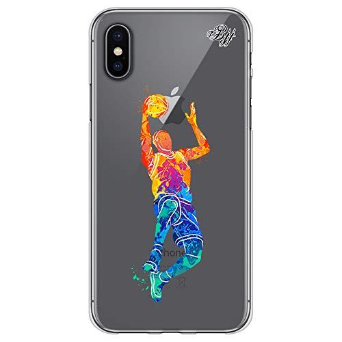 BJJ SHOP Funda Slim Transparente para [ iPhone X/iPhone XS ], Carcasa de Silicona Flexible TPU, diseño : Jugador Baloncesto encestando la Pelota
