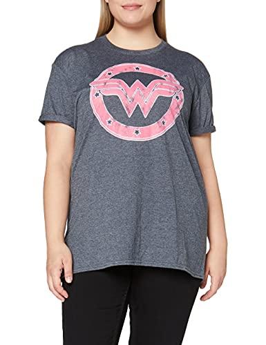 DC Comics Wonder Woman-WW Emblem Camiseta, Oscuro Heather Gris, M para Mujer