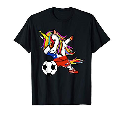 Unicornio Dabbing Unicorn Chile Fútbol Bandera Chilena Camiseta